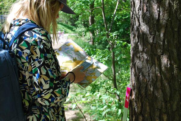 Man med orienteringskarta i skogen