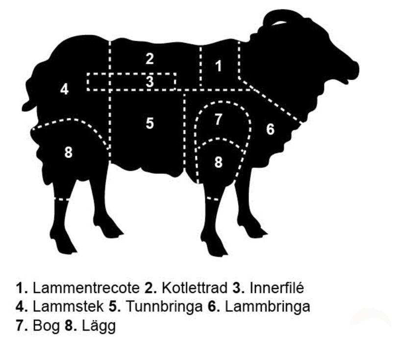 Lamm styckningsschema